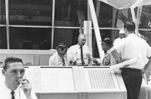NASA photo 105-KSC-367-420-18 9-29-1967 von Braun and Donnelly in Firing Room 1 Row AB